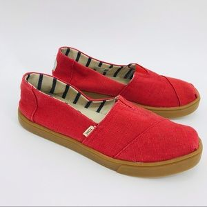 TOMS Classic Red Canvas Slip On Shoes 6.5